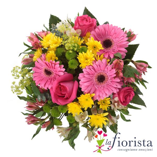 Vendita bouquet rosa e giallo consegna fiori a domicilio - Immagini di fiori tedeschi ...