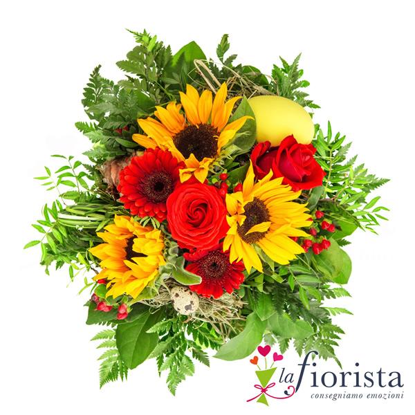 Vendita bouquet con fiori rossi e girasoli consegna fiori for Design del mazzo online