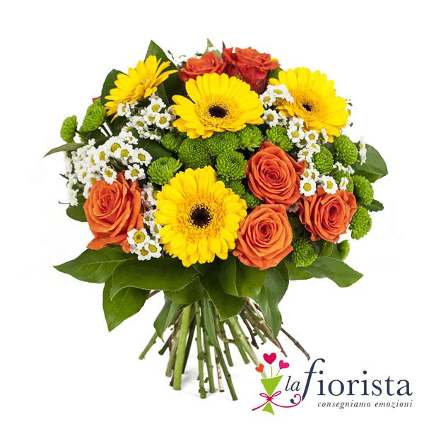 Vendita bouquet di rose arancio e gerbere gialle consegna for Fiori gerbere