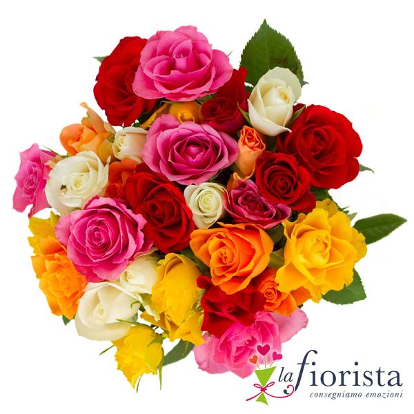 vendita bouquet di rose colorate consegna fiori a