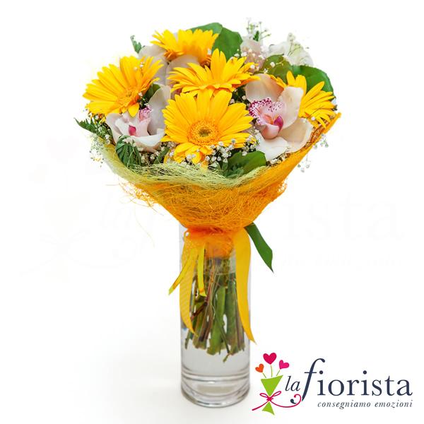 Vendita bouquet gerbere gialle e fiori di orchidea for Orchidea foglie gialle