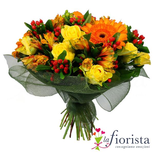Bouquet con rose gialle e gerbere arancio consegna gratis for Fiori gerbere
