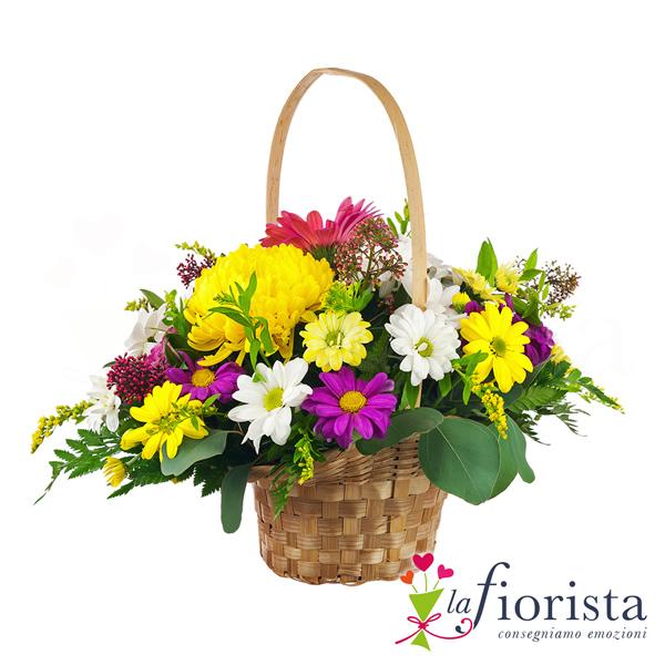 vendita cestino di fiori colorati consegna fiori a