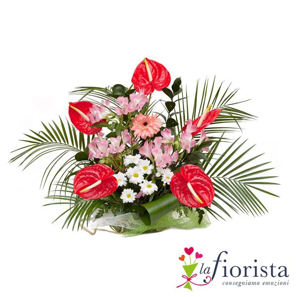Preferenza Vendita Composizione Funebre di Anthurium Rossi e Fiori Rosa  TQ77