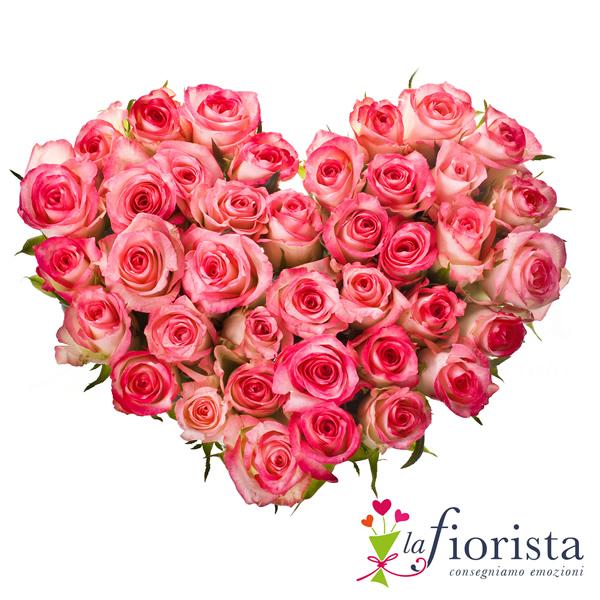 Vendita cuore di rose rosa consegna fiori a domicilio gratis for Design del mazzo online