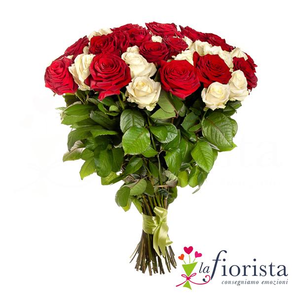vendita mazzo di rose rosse e rose bianche consegna fiori