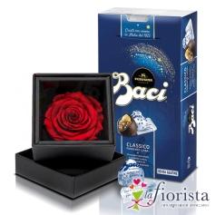 Rosa rossa stabilizzata e Baci Perugina