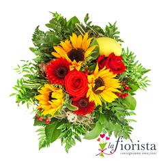 Bouquet con fiori rossi e girasoli