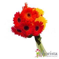 Bouquet di Gerbere gialle arancio e rosse