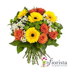 Bouquet di rose arancio e gerbere gialle