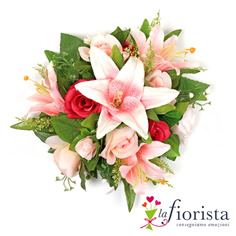 Bouquet di rose e gigli rosa