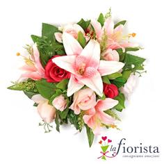 Bouquet di rose e gigli rosa