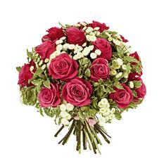 Bouquet di rose rosa e fiori bianchi