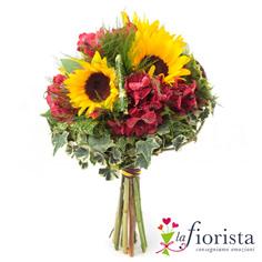 Bouquet girasoli e alstroemeria
