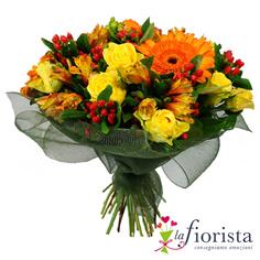 Bouquet solare con rose gialle e gerbere arancio