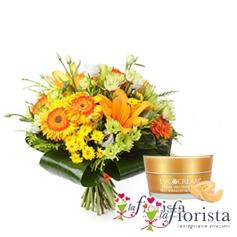 Bouquet fiori arancio e crema viso