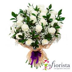 Mazzo funebre di rose bianche e verde