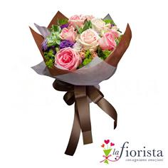 Mazzo funebre di rose rosa