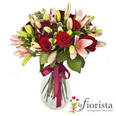 Mazzo funebre lilium rosa e rose rosse